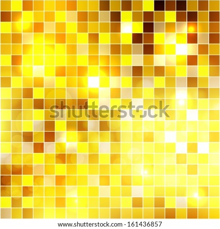 Gold color mosaic background. Vector EPS 10 illustration. - stock vector