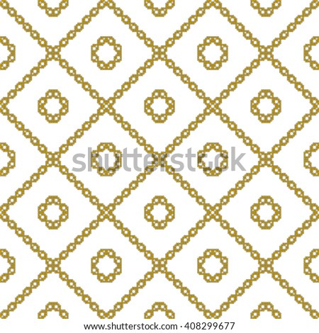 gold color Seamless pattern of round pixel mosaic design as textiles, presentations, wallpapers. Vector Image. - stock vector