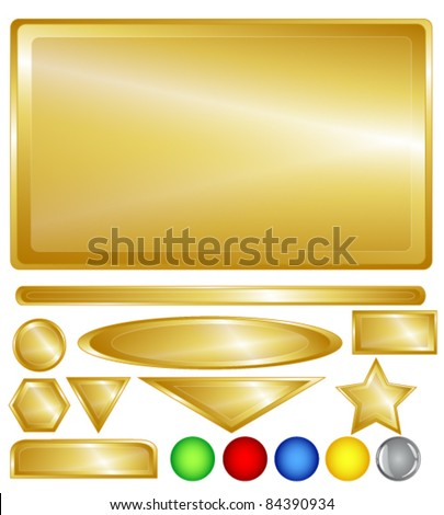 Gold color web background, bars, buttons and shapes with fun red, green, blue, yellow and one grey glossy buttons for added variability. - stock vector
