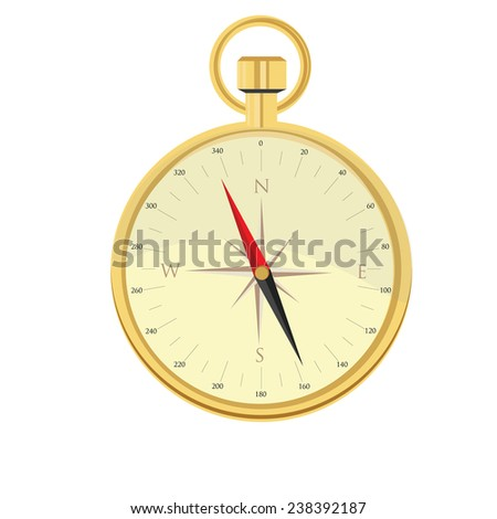 Gold compass vector icon isolated on white - stock vector