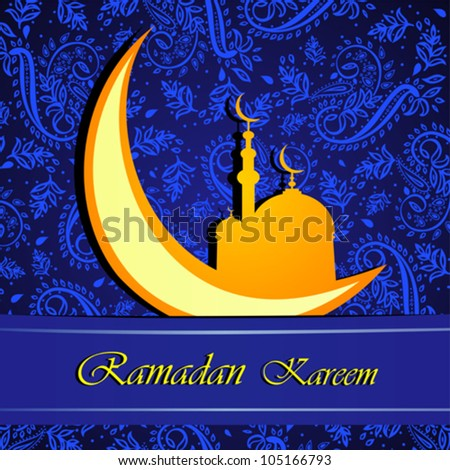 "Gold crescent moon ""Eid Mubarak"" (Blessed Eid) card. Vector Illustration - stock vector"