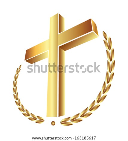 Gold cross isolated background icon - stock vector