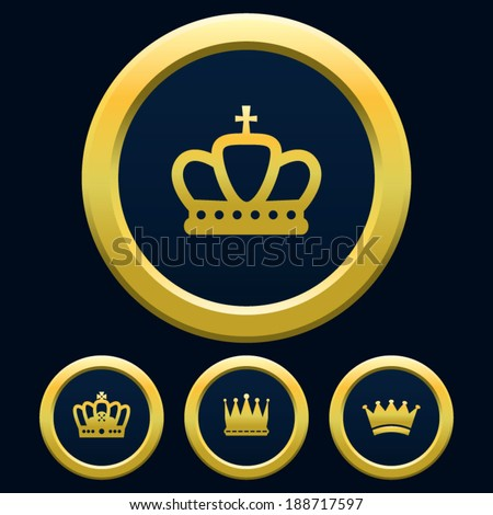 Gold Crown Blue Background - stock vector