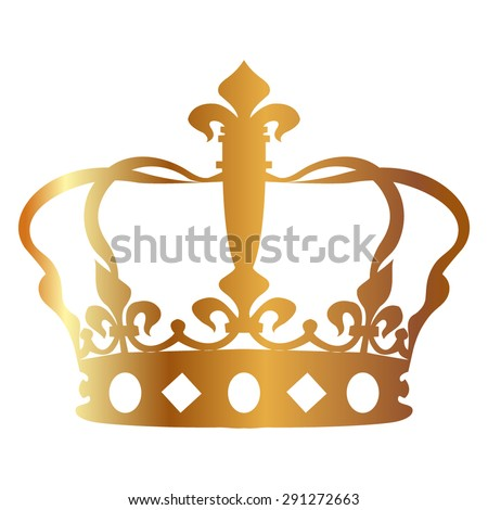 Gold Crown icon  - stock vector