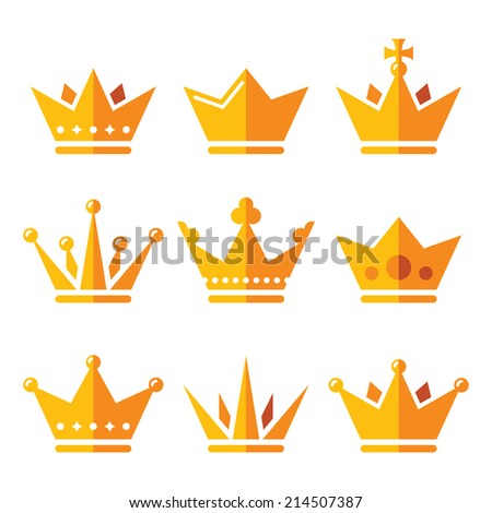 Gold crown, royal family icons set - stock vector