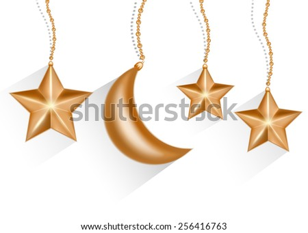 Gold 3d star and moon isolated in white background. Vector EPS10. - stock vector