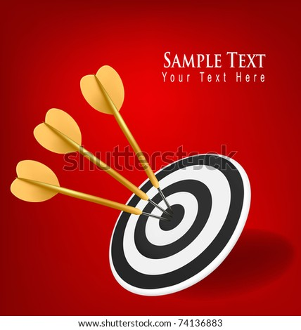 Gold darts hitting a target. Success concept. Vector illustration - stock vector