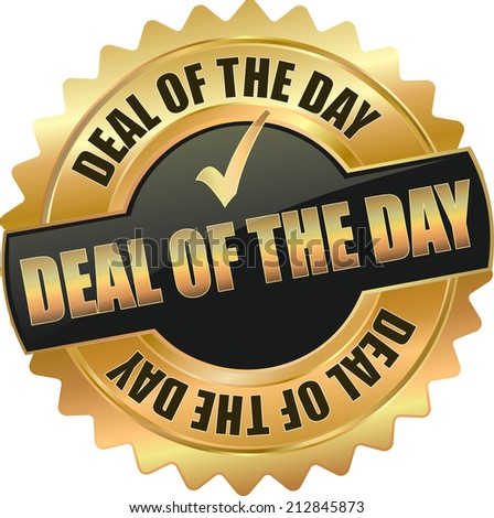gold deal of the day sign - stock vector