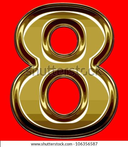 gold digit - stock vector