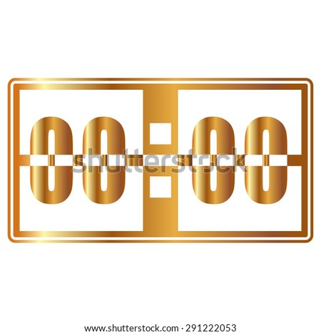 Gold Digital alarm clock vector icon - stock vector