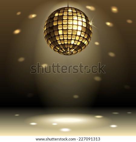 gold disco ball on dark background - stock vector