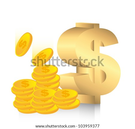 gold dollar sign with coins. vector illustration - stock vector