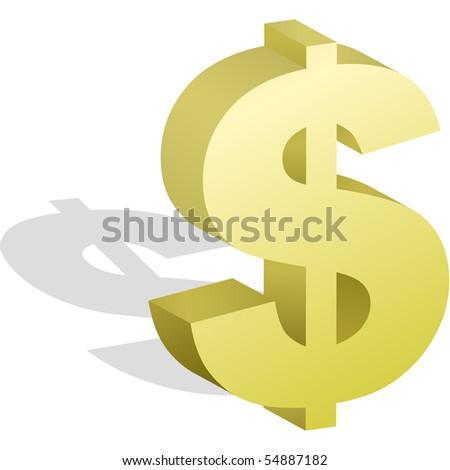 Gold dollar. Vector illustration. - stock vector