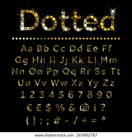 Gold dotted glittering metal alphabet. Vector gold font with additional currency, numbers and special symbols and signs. - stock vector