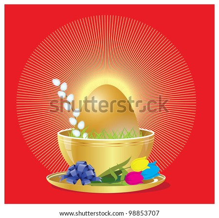 gold easter - stock vector
