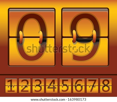 Gold Effect Mechanical Scoreboard - stock vector