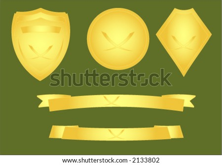 Gold effect vector image of shields and banners - stock vector