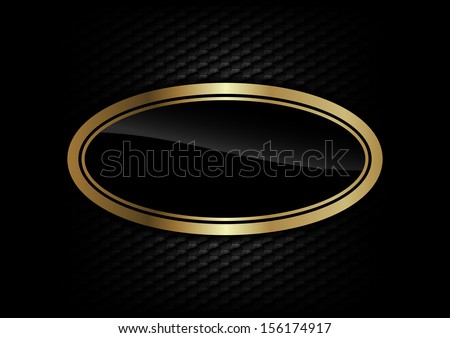 gold ellipse on the dark background - stock vector