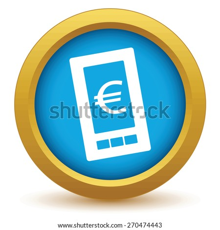Gold euro phone icon on a white background. Vector illustration - stock vector