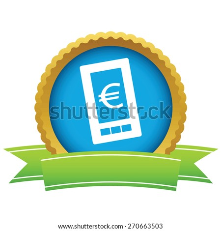 Gold euro phone logo on a white background. Vector illustration - stock vector