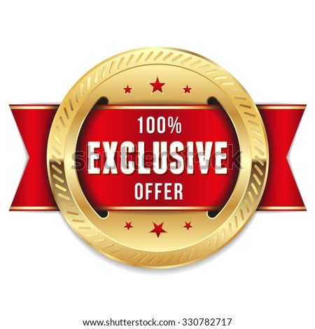 Gold exclusive offer badge with red ribbon - stock vector