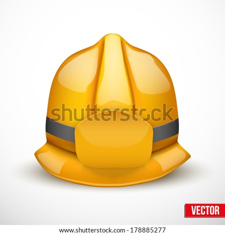 Gold firefighter helmet vector illustration. Space for badge or  emblem. Isolated and editable. - stock vector