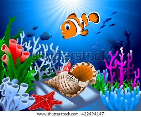 gold fish and starfish on the ocean floor, including coral - stock vector