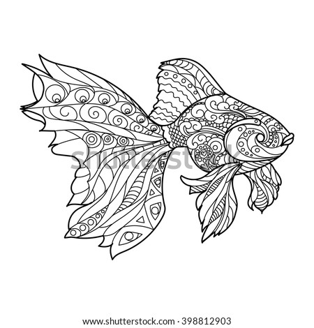 Gold fish coloring book for adults vector illustration. Anti-stress coloring for adult. Zentangle style. Black and white lines. Lace pattern - stock vector