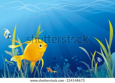 Gold fish in sea, underwater life, seaweeds. Vector illustration - stock vector