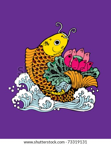 gold fish , pink lotus and white wave on purple background, Oriental traditional style tattoo pattern, vector - stock vector