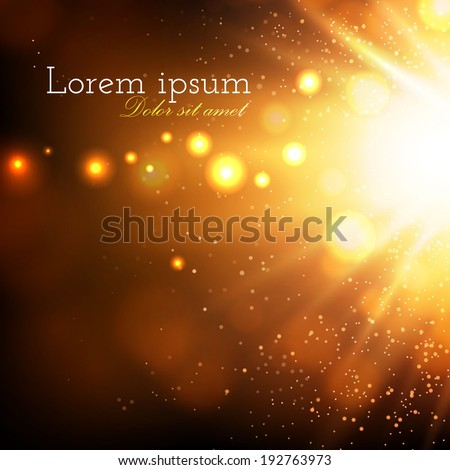 Gold flash. Abstract bokeh background. Vector illustration - stock vector