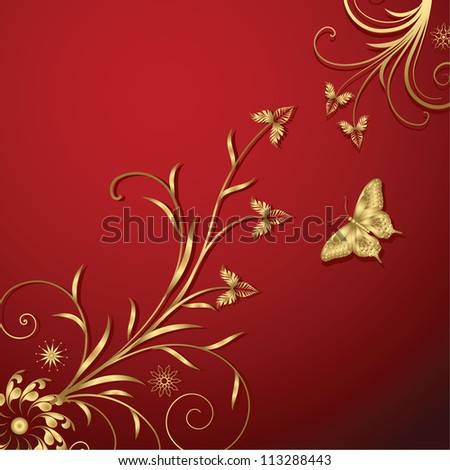 Gold floral abstraction - stock vector