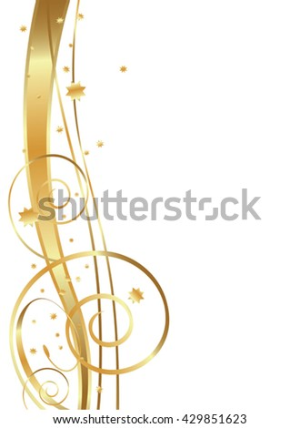 Gold Flowing Background, swirls, twirls and stars - stock vector