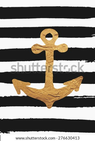 Gold foil anchor on black brush strokes background. Hand drawn nautical poster design. - stock vector