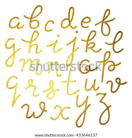 Gold foil hand-drawn alphabet - stock vector
