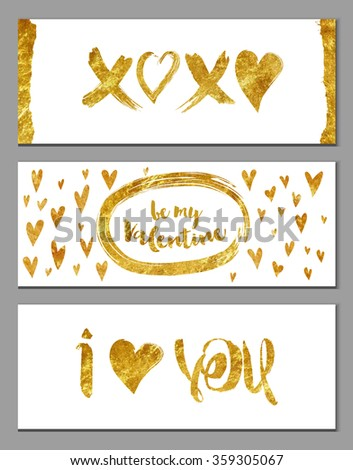 Gold Foil Valentine Banners - Valentine's horizontal banners with hearts and gold foil texture on white background, abstract, whimsical, hand drawn backgrounds and elements - stock vector
