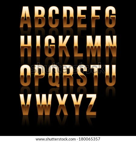 Gold Font Set 1. File contains graphic style. - stock vector