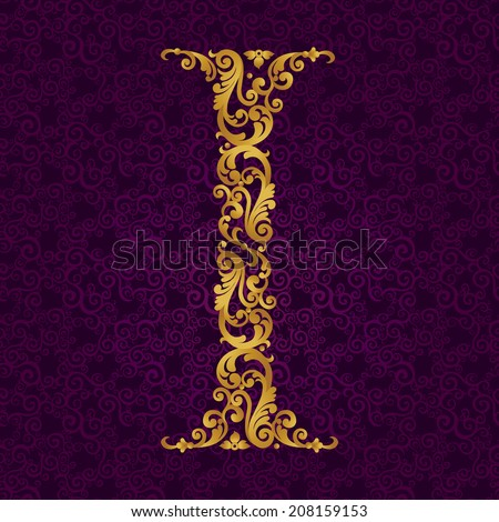 Gold font type letter I, uppercase. Vector baroque element of golden alphabet made from curls and floral motifs. Victorian ABC element in vector. - stock vector