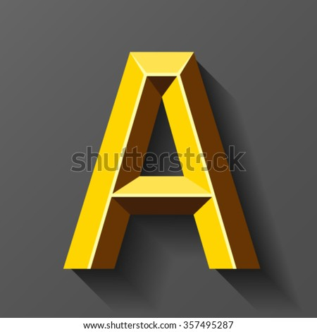 Gold font with bevel, letter A vector - stock vector