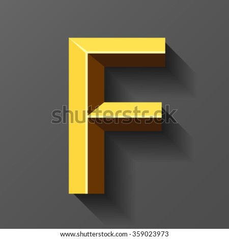 Gold font with bevel, letter F vector - stock vector