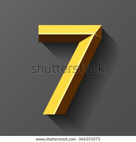 Gold font with bevel, number 7 vector - stock vector