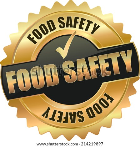 gold food safety vector eps10 sign - stock vector