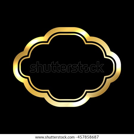 Gold frame. Beautiful simple golden design. Vintage style decorative border, isolated on black background. Deco elegant art object. Empty copy space for decoration, photo, banner. Vector illustration. - stock vector