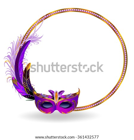 Gold frame decorated with colorful feathers and purple carnival mask. - stock vector