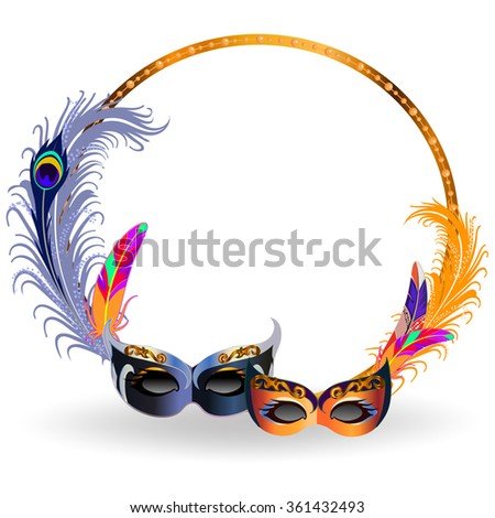 Gold frame decorated with colorful feathers and two carnival masks. - stock vector