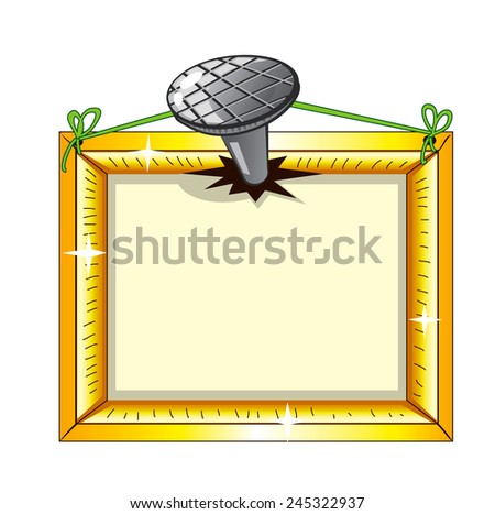 Gold frame nailed to the wall with space for text - stock vector