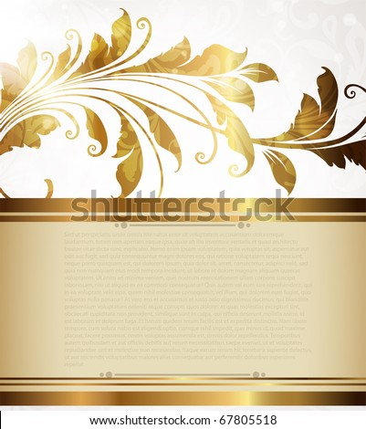 gold-framed floral ornament with leafs and flowers for retro design - stock vector