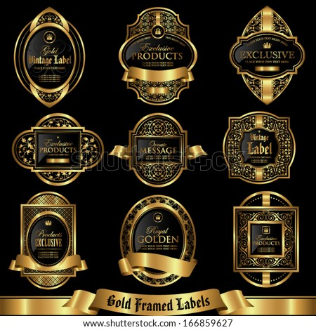 Gold framed labels set 6 - stock vector