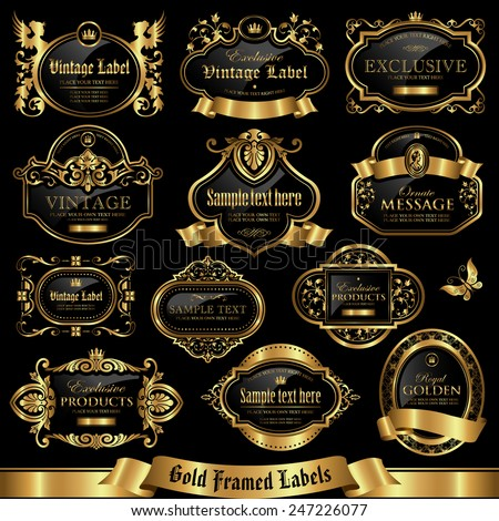 Gold framed labels set 10 - stock vector