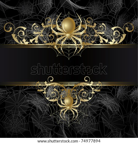 Gold-framed  with gold spider and web on the black background - stock vector